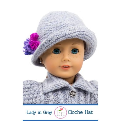 Lady In Grey Cloche Hat For 18 Inch Dolls Doll Clothes Knitting