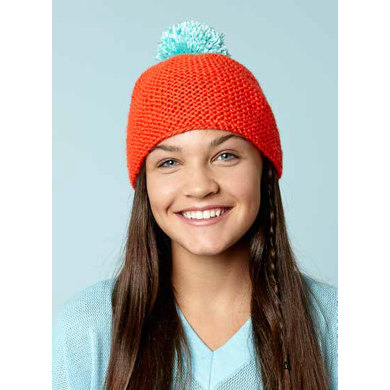 Beanie With Bright Pompom in Caron Simply Soft - Downloadable PDF