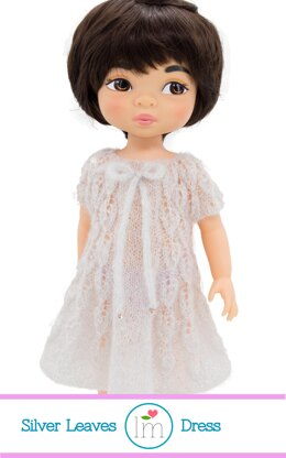 Silver Leaves Dress for 16 inch Disney Animators Dress. Doll Clothes Knitting Pattern.