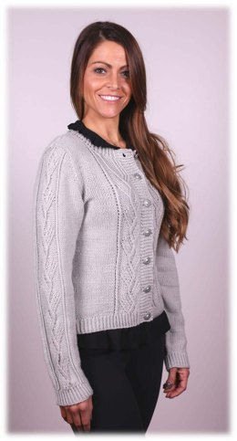 Women's Twist Stitch Cardigan in Plymouth Yarn Arequipa Worsted - 2996 - Downloadable PDF
