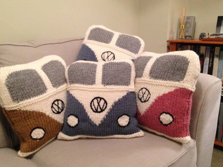 Vw Campervan Knitting Pattern : Classic VW campervan cushion cover knitting project by Sue B LoveKnitting
