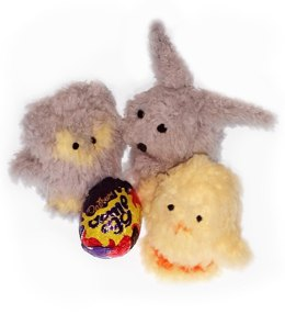 Baby owl, bunny and chick fluffy creme egg holders