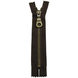 "Pocket And Neckline Fashion Zip With Antique Brass Metal Teeth 15cm/6"" - Black (580)"