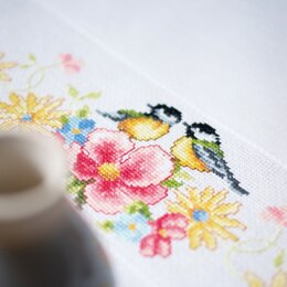 Vervaco Blue Tits & Spring Flowers Tablecloth Cross Stitch Kit - 80cm x 80cm