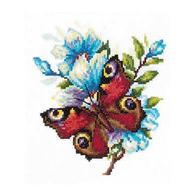 Magic Needle Peacock Butterfly Cross Stitch Kit - 17cm x 17cm