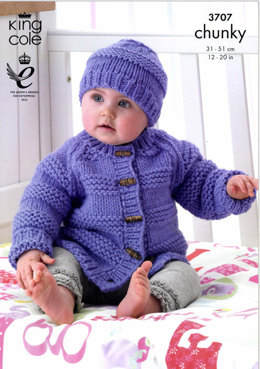 Jacket, Hat and Mittens in King Cole Comfort Chunky - 3707