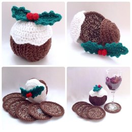 Christmas Pudding Coaster Set