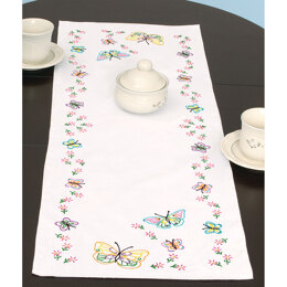 Jack Dempsey Fluttering Butterflies Stamped Cross Stitch Table Runner