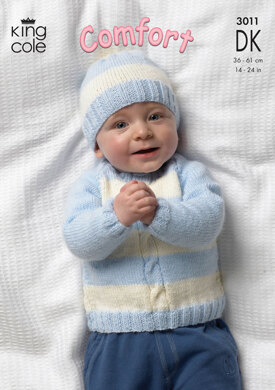Cardigan, Sweaters, Hat and Mittens in King Cole Comfort DK - 3011