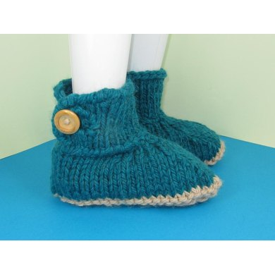 Super Chunky One Button TV Slipper Boots Knitting pattern by madmonkeyknits ...