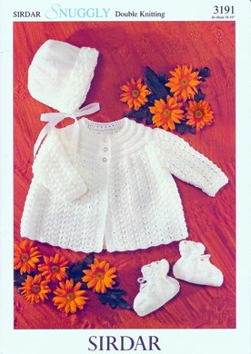 Matinee Coat, Bonnet and Bootees in Sirdar Snuggly DK - 3191