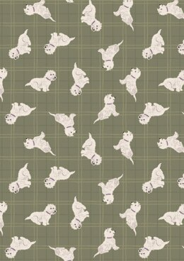 Lewis & Irene A Walk in the Glen Tumbled Westies Olive Check Fabric Cut to Length