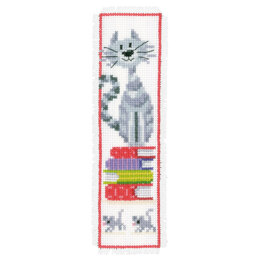 Vervaco Cat on Book Pile Bookmark Cross Stitch Kit - 6cm x 20cm