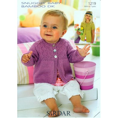 Lond and Short Sleeved Cardigan in Sirdar Snuggly Baby Bamboo DK - 1219
