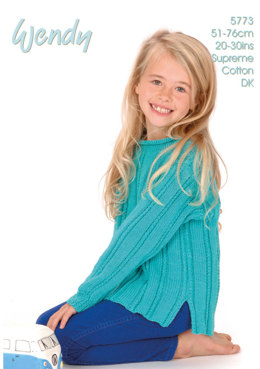 Child's Roll Neck Sweater in Wendy Supreme DK - 5773