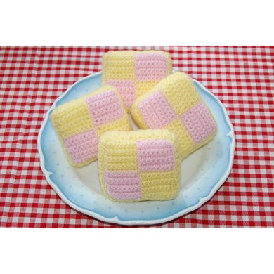 Crochet Pattern for Battenburg Slices / Cakes - Tea Party Food