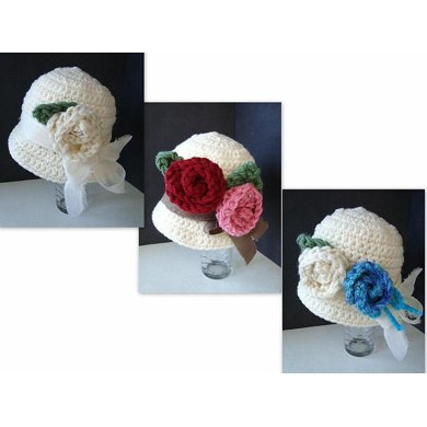 563 CROCHET cloche hat with roses, baby to women sizes