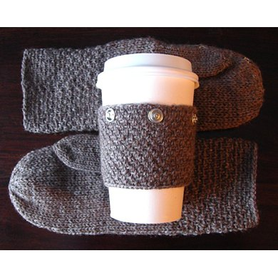 Mittens with Snap-On Coffee Sleeve