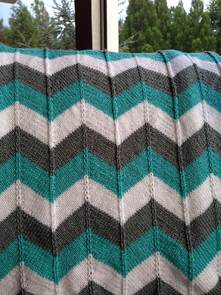 Chevron Afghan Pattern Knit : Chevron Baby Blanket and Chevron Throw Knitting pattern by Karin Michel Kni...