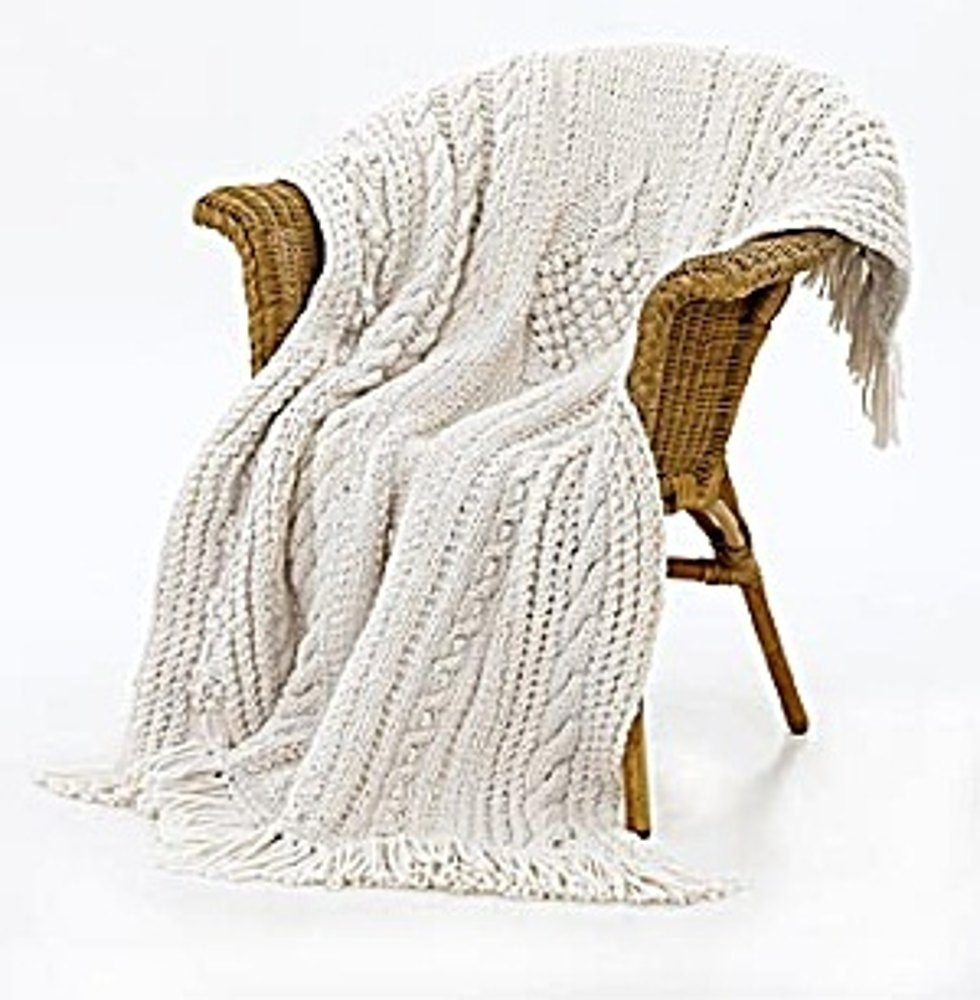 Knit Bobbled Tree Throw in Lion Brand Wool-Ease Thick ...