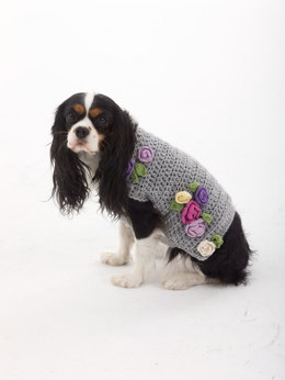 Lady Who Lunches Dog Sweater in Lion Brand Vanna's Choice Multi and Bonbons Cotton- L30252
