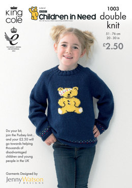 Children in Need Pudsey Bear Jacket and Cardigan Knitted in King Cole Big Value DK - 1003