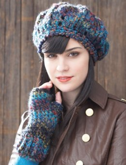 Beret and Fingerless Gloves in Patons Colorwul