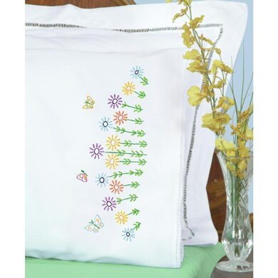 Jack Dempsey Stamped Pillowcases W White Lace Edge 2Pkg - Field of Flowers - Multi