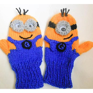 Minion Character Mittens Knitted Version Knitting Pattern By