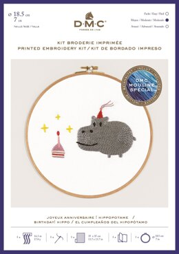 "DMC Birthday! Hippo (printed fabric, 7"" hoop) Embroidery Kit -  35cm x 35cm - TB127"
