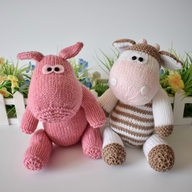Chutney Cow And Pickles Pig Knitting Pattern By Amanda Berry