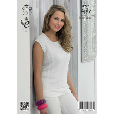 Ladies' Cardigan and Top in King Cole Bamboo Cotton 4 Ply - 3925