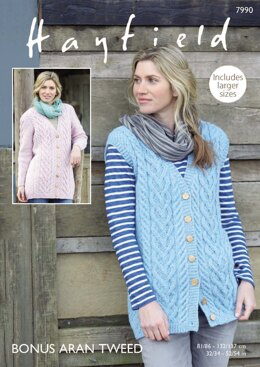 Longline Waistcoat and Jacket in Hayfield Bonus Aran Tweed with Wool - 7990 - Downloadable PDF