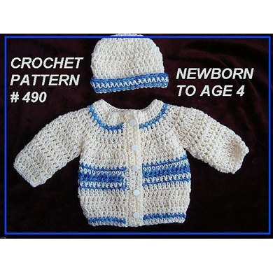 490 BABY CARDIGAN SWEATER AND HAT