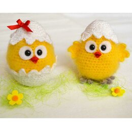 Easter hatched chicken amigurumi toy