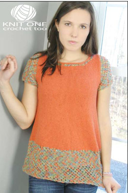 Orange Crush Tunic in Knit One Crochet Too Fleurtini and 2nd Time Cotton - 1996 - Downloadable PDF