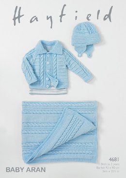 Blanket, Helmet and Jacket in Hayfield Baby Aran - 4681- Downloadable PDF