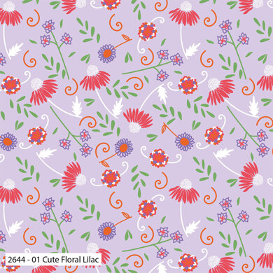 Craft Cotton Company Cute Florals - Cute Floral Lilac