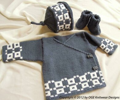 Baby Fair Isle cross over top, hat and boots