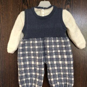 Baby Tartan Overalls And Jumper Knitting Pattern By Oge