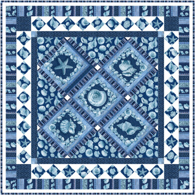 Michael Miller Fabrics Sailor's Valentine Blue Quilt - Downloadable PDF