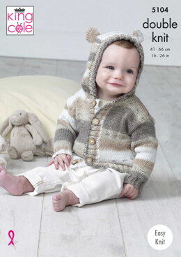 Hooded Jackets in King Cole Cottonsoft Baby Crush DK- 5104pdf - Downloadable PDF