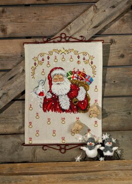 Permin Santa Claus Advent Calendar Cross Stitch Kit - 40cm x 52cm