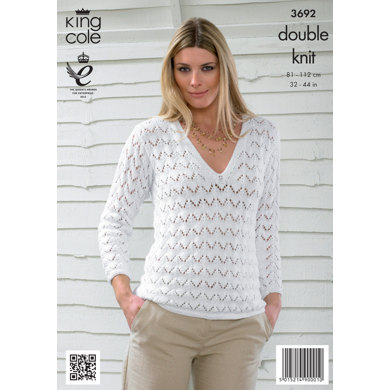 Womens' Sweater and Cardigan in King Cole Bamboo Cotton DK - 3692