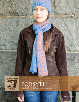 Forsyth Scarf & Hat Set in Juniper Moon Farm Marlowe Jeweltones and Marlowe Dappled - Downloadable PDF