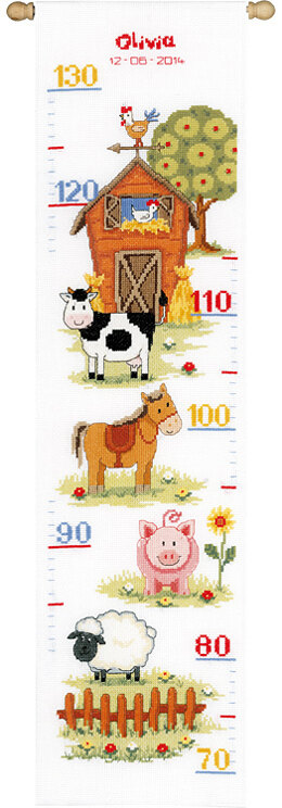 Vervaco At The Farm II Height Chart Cross Stitch Kit - 18cm x 70cm