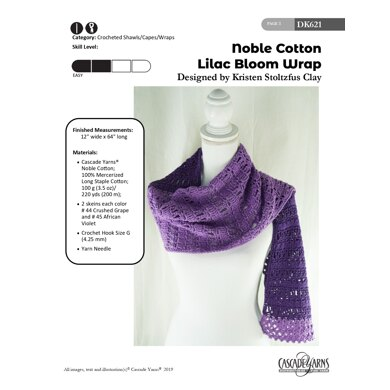 Lilac Bloom Wrap in Cascade Yarns Noble Cotton - DK621 - Downloadable PDF
