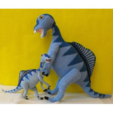 SPENCER SPINOSAURUS AND BABY TOY DINOSAUR KNITTING PATTERN - MADMONKEYKNITS