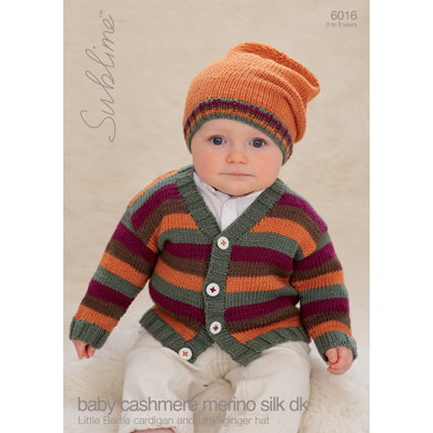 Little Bertie Cardigan and Little Ginger Hat in Sublime Baby Cashmere Merino Silk DK - 6016
