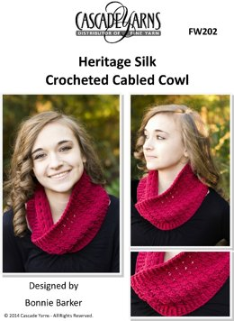 Crocheted Cabled Cowl in Cascade Heritage Silk - FW202